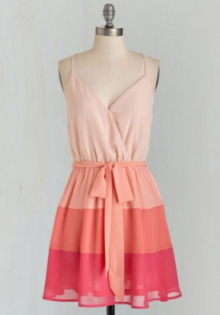 three color romantic summer dress