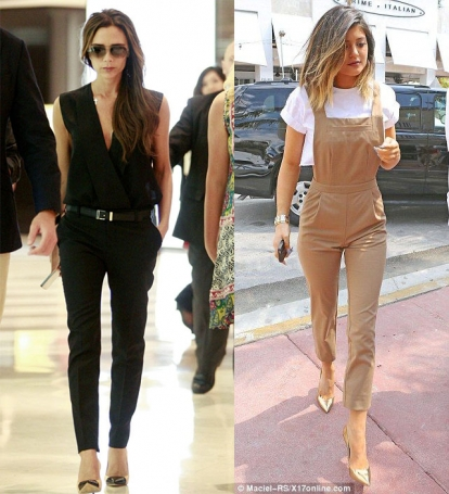 23c96c677783 Victoria Beckham wearing a black solid jumpsuit from her collection and  Kylie Jenner in a nude classic jumpsuit