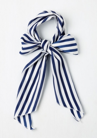 white and blue striped skinny scarf