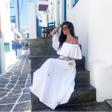white maxi off the shoulder dress