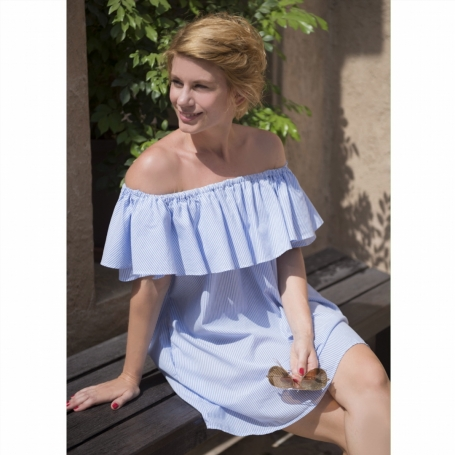off the shoulder mini dress in baby blue color