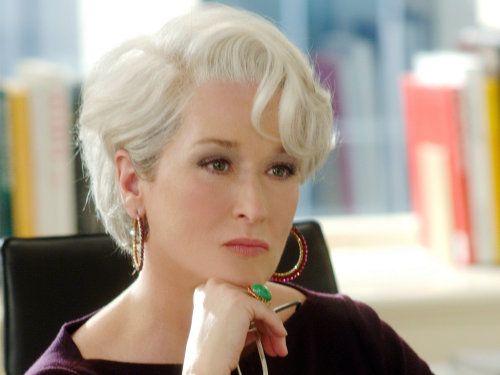 meryl streep with white short haircut in vintage style