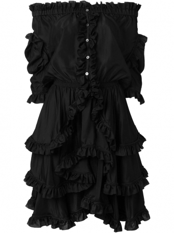 off-shoulder ruffled dress in black