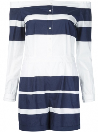 striped off shouder playsuit, jumper in navy and white