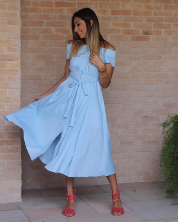 midi length blue jeans dress with shoulders off